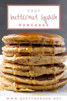 I came up with this easy recipe for fluffy and thick pancakes, that are not too sweet and have that cozy fall feeling. I love them with some honey drizzled on top! They're also delicious sprinkled with a mix of powdered sugar and cinnamon, although, if I'm having them for breakfast, I'll just eat them plain. #pancakes #butternutsquash #foodblogger