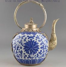 RARE COLLECTION WHITE COPPER PORCELAIN OLD DECORATION PAINTING HANDWORK TEAPOT