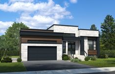 New houses with flat roofs for sale - Construction Louis-Seize Sip House, House Roof, Dream House Plans, Modern House Plans, Louis Seize, Modern Small House Design, Architectural House Plans, A Frame House, Flat Roof