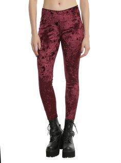 "What better reason to snuggle up in the cold weather than you wearing these super comfy burgundy velvet leggings? They pair great with an oversized sweater or tunic and boots.<div><ul><li style=""list-style-position: inside !important; list-style-type: disc !important"">95% polyester; 5% spandex</li><li style=""list-style-position: inside !important; list-style-type: disc !important"">Wash cold; dry low</li><li style&#..."