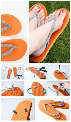 Reciclar zapatos siempre me gusta … joybobo: diy: flip-flop refashion. I always like to recycle shoes Crochet Sandals, Crochet Shoes, Crochet Slippers, Flip Flops Diy, Flip Flop Craft, Decorate Flip Flops, Crochet Flip Flops, Diy Tresses, Flipflops