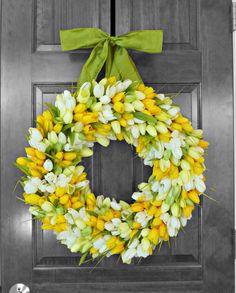 Spring Wreath, Front Door Wreaths, Yellow Tulip Wreath, Mothers Day Gift, Spring Decor, Gift for Mom, Outdoor Door Wreaths by Refined Wreath