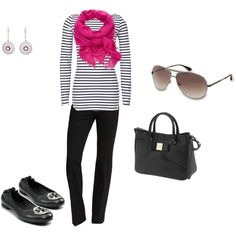Black and white striped shirt, pink scarf, black Tory Burch flats, aviators.