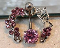 Belly ring, bellybutton ring, pink cubic zirconia stones with butterfly and flowers on belly ring guard 14ga | YOUniqueDZigns - Jewelry on ArtFire