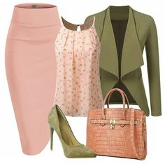A blush pencil skirt with a printed blush top is perfect for the office along with a casual open front blazer. Add a pair of pointy toe stiletto in olive green and a top handle padlock handbag to complete the ensemble. Classy Outfits, Casual Outfits, Jw Mode, Modelos Fashion, Vetement Fashion, Looks Chic, Church Outfits, Mode Outfits, Complete Outfits