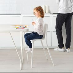 IKEA - INGOLF, Junior chair, white, Gives the right seat height for the child at the dining table. Garden Table And Chairs, Lawn Chairs, Dining Chairs, Dining Table, Desk Chairs, Room Chairs, Chaise Ikea, Ikea Chair, Affordable Furniture