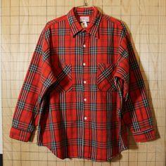 【JCPenney】USA製70sBIGMACビンテージ古着レッド×ブラックチェックシャツ・ヘビーネルシャツ サイズXL ビッグサイズ