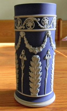 "Vintage c1890 Antique Dark Blue White Wedgwood Jasperware Spill Vase 5 3 4"" | eBay"