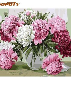Spring rose flowers Oil Painting pictures By Numbers Digital Picture drawing by numbers hand coloring living room decoration Oil Painting Pictures, Oil Painting Flowers, Wall Art Pictures, Pictures To Paint, Diy Painting, Learn Painting, Easy Paintings, Elegant Flowers, Colorful Flowers