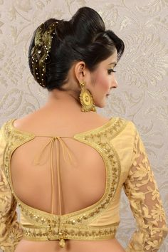 #Gold Raw #Silk & Lace combo weaved #blouse -BL470