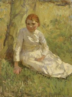 The Athenaeum - Girl in a Field (Sir George Clausen, R.A., R.W.S., R.I. - )