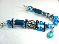 Sky Blue Crystal Peace Sign Bracelet by PurseCharming7 on Etsy, $32.00