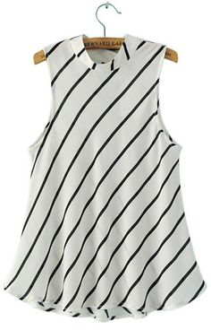 Sleeveless Striped Blouse Stand Collar.