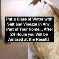 Put a Glass of Water with Salt and Vinegar in Any Part of Your Home… After 24 Hours you Will be Amazed at the Result! beauty diy diy ideas health healthy living remedies remedy life hacks healthy lifestyle beauty tips apple cider vinegar good to know Health Remedies, Home Remedies, Natural Remedies, Diy Cleaning Products, Cleaning Hacks, Diy Hacks, Cleaning Solutions, Cleaning Spray, Cleaning Supplies