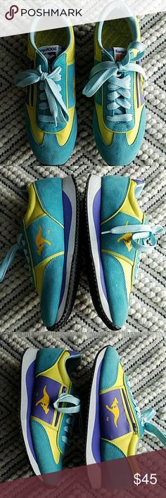 Vintage 80s Kangoroos Sneakers Awesome retro Kangoroos from the 80s in  turquoise, purple, and yellow. Comes with blue glitter laces as well as solid blue laces. Has very minor spots shown in pics but in otherwise great vintage condition! Size 10 and are super comfortable. Kangoroos Shoes Sneakers