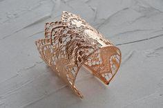 Wide rose gold bracelet lace bracelet filigree by MyElesi Etsy Lace Bracelet, Cuff Bracelets, Upper Arm Cuffs, Embroidery Shop, Indie Fashion, Handmade Art, Statement Jewelry, Rose Gold Plates, Metal Jewelry