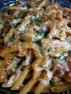 French Onion Pasta - Julia Child recipe. I'll add shredded Rotisserie Chicken and button mushrooms.