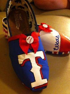 texas rangers painted toms | Handpainted Texas Rangers TOMS Shoes by TheCraftyAttique on Etsy
