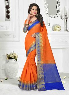 Clothing, Shoes & Accessories Honesty New Collection Indian Bollywood Border Work Blue Beige Party Sari Wedding Saree