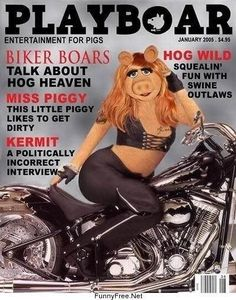 Miss Piggy poses in leather on a motorcycle for this month's edition of Playboar -- HOG heaven Kermit And Miss Piggy, Kermit The Frog, Kermit Face, Welcome To My Life, Die Muppets, Fraggle Rock, The Muppet Show, This Little Piggy, Jim Henson