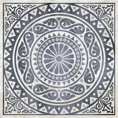 Digital tiles, medallion motif ornate art prints, Mosaic Tile Wall Art set of 4 printable tile stencil images, blue and brown home decor Mirror Mosaic, Mosaic Tiles, Wall Tiles, Brown Home Decor, Mandala Stencils, Tadelakt, Marble Art, Wall Art Sets, Geometric Art