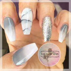Senboma Ombre And Marble False Nails Coffin Nails Guangzhou Factory . Nail Art Designs, Marble Nail Designs, Gray Nails, Silver Nails, Water Nails, Marble Nails, Nail Decorations, Halloween Nails, Trendy Nails