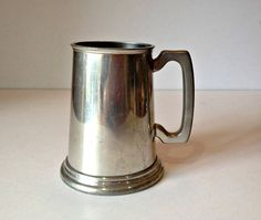 Vintage Pewter Tankard Glass Bottom Tankard King's