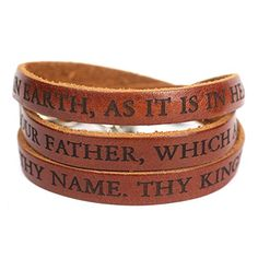 Dillon Rogers Lord's Prayer Designer Leather Wrap Bracelet - Brown