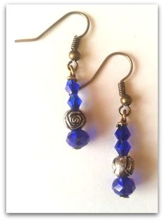 Vintage birthstone earrings. September. Crystal beads. Silver and bronze accents. 25$
