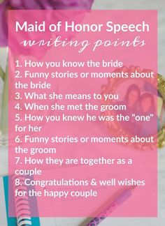 Tips for Writing & Presentating A Really Good Maid of Honor Speech | http://theblueeyeddove.com