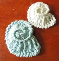 As the images show shells made in acrylic, wool and cotton, you may use any hook yarn combination you choose.