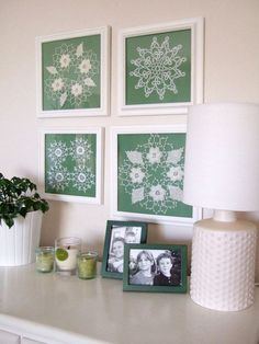 Framed doilies. love the teal back ground