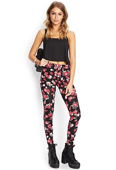 Soft Knit Floral Leggings | FOREVER21 - 2000107463