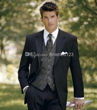 Popular CheapTwo botões preto noivo smoking Notch lapela melhor homem novo terno padrinho de casamento homens vestidos de casamento(China (Mainland))