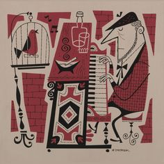 red white and black mid century art print | piano man with his song bird