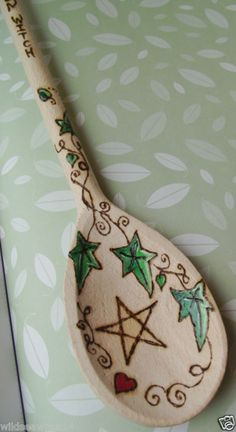 KITCHEN WITCHES WOODEN SPOON ♥ WICCA PAGAN WITCH FAERIE ♥ Pentagram & Spiral Ivy | eBay