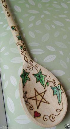 KITCHEN WITCHES WOODEN SPOON ♥ WICCA PAGAN WITCH FAERIE ♥ Pentagram & Spiral Ivy | eBay