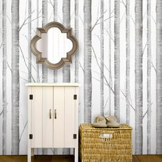 Birch Tree Peel & Stick Fabric Wallpaper Repositionable - Simple Shapes Wall Decals, Furniture, and Accessories