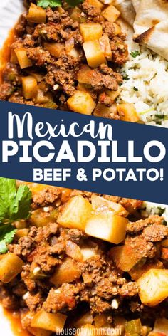 Quick and easy family dinner! Ground beef and potatoes are simmered in a tomato sauce. Serve this dish up with some rice and fresh flour tortillas for a complete meal. Ground Beef Dishes, Ground Beef And Potatoes, Ground Beef Recipes For Dinner, Dinner With Ground Beef, Healthy Dinner Recipes, Mexican Food Recipes, Ground Chuck Recipes Dinners, Ground Meat, Meal Recipes