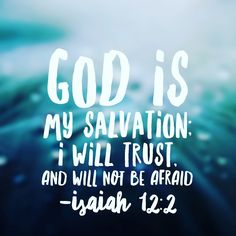 God is my salvation; I will trust, and will not be afraid;for the Lord God is my strength and my song!!!! #nofear#biblereading