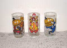 3 McDonald's Collectible Glasses / Mayor McCheese, Big Mac & Ronald McDonald by CookieGrandma60, $18.00