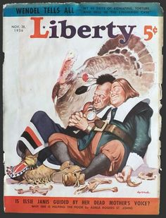 thanksgiving vintage magazine covers | vintage magazine covers 1936 liberty magazine cover pilgrim indian ...
