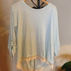 Top Top . Long sleeve. Size XL. Color sky blue. 60% polyester. 40% rayon. Open to any reasonable offer  Tops