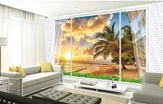 3D Wallpaper Mural Mirror Window View Beach Sunset Wall Background Custom Size