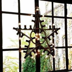 Merci Crédit Photo Atelier rue verte Virée Shopping, Merci Paris, Rue Verte, Open Window, Chandelier, Ceiling Lights, Windows, Doors, Christmas