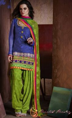 Antara - Blue and Green Patiala Style Salwar Suit