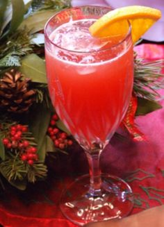 Christmas morning while opening gifts!   Cranberry Mimosas #recipe