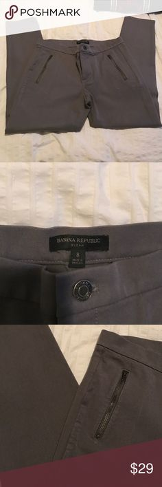 Banana Republic Sloan pants! Dark grey! 🙌🏼 Beautiful Grey skin pants. Sloan pants. Skinny, with zipper on each legs. Size 8 Banana Republic Pants Ankle & Cropped