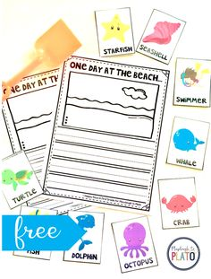 FREE Beach Writing Prompt! A great writing prompt for kindergarten and first grade kids as we head into summer! Perfect for literacy centers! #literacycentersfreebies #beachwritingprompts #PlaydoughToPlato
