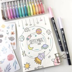 24 Insanely Simple Bullet Journal Header Ideas To Steal! Need some bullet journal header ideas for beginners? This post is FOR YOU! The perfect way to liven up your bullet journal is with art and # Bullet Journal Headers, Bullet Journal 2019, Bullet Journal Notebook, Bullet Journal Spread, Bullet Journal Layout, Bullet Journal Inspiration, Journal Pages, Journal Ideas, Bullet Journals